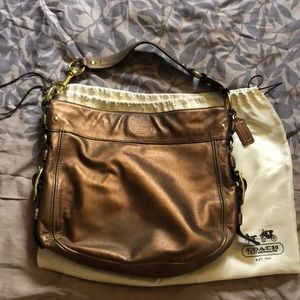 Coach large hobo gold hardware bronze line finish